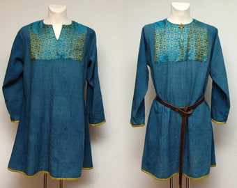 Tunic, wool, silk, dyed plants, brocade, after find, Middle Ages, Vikings, Rus, Slaven, Reenact, Larp, Gr. m-L
