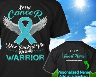 Personalized Bone Tumor Cancer Awareness T-shirt Warrior Turquoise Ribbon Support Survivor Custom Tshirt Unisex Women Youth Kids Tee