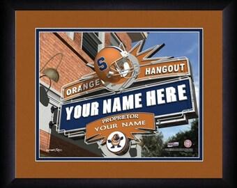 Syracuse Orange Personalized Pub Print - NCAA Gift - Framed