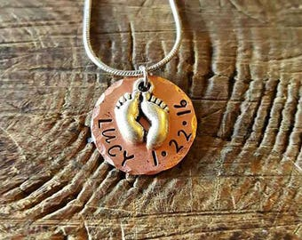 Personalized Jewelry - Hand Stamped Necklace with Baby Feet Charm - Gift for Her