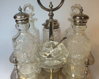 Salt Pepper Mustard Oil-Cruet condiment set--First ' Edwardian 900-Sheffield old-Crystal
