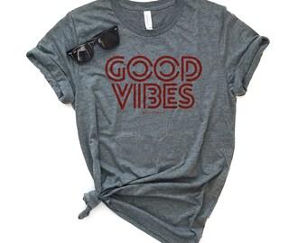 Good Vibes Red, Unisex Short Sleeve T-shirt, Good Vibes, Positivity Tee, Kindness Tee, Graphic Tee, Retro Vintage Feel, Trendy Tee, Hippie