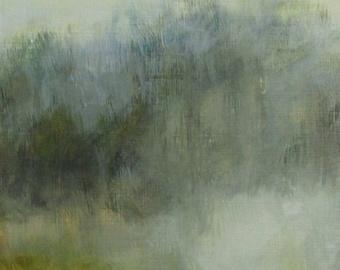Green Misty Landscape Painting Original Art