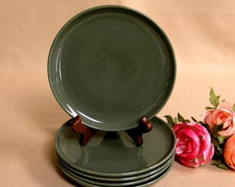 Mid-Century Russel Wright Set of 5 Bread & Butter or Side Plates by Steubenville Pottery USA in the Cedar Green Pattern