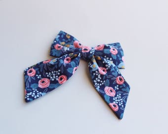 Rosa Navy Les Fleurs Rifle Paper Co Sailor Bow | Girls Sailor Bow, Hair Clip, Hair Bow, Toddler Bows, Hair Clips, Girl Hair Bow