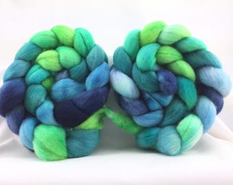 Polwarth top, spinning fiber, 4 oz, wool top, hand dyed, hand painted, felting, boffofibers, boffo fibers, boffo