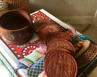 Handcarved Coasters/ Set of 6