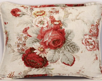 "Floral Throw Pillows 2  12"" by 16"" Waverly Norfolk Rose Cottage Floral Red & Cream Throw Pillows With Pillow Forms Living room Accent Pillow"
