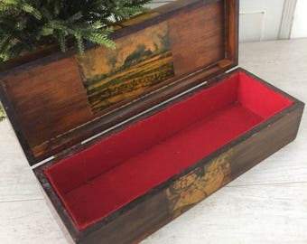 Wooden Storage Box with Hinged Lid and Decoupage