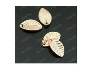 Set of 10 leaf charms gold minimalist tree (S10)