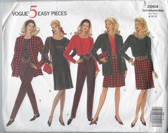 Vintage Vogue 5  Easy Pieces Sewing Pattern 2964 Misses Petite Jacket Top  Skirt Pants Size 8 10 12  Uncut Factory Folded 1990s