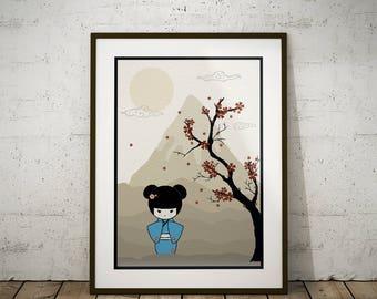 Cherry Blossom Kokeshi Doll