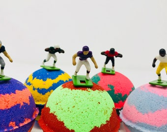 Sale! 5 7.0 oz Football Birthday Easter Egg  Bath Bomb Party Favor Set with Surprise Football Player Figures Inside