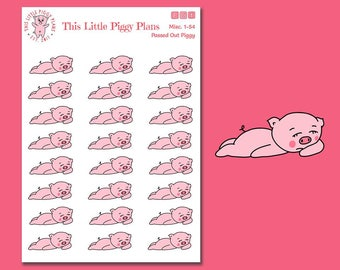 Exhausted Piggy - Passed Out Piggy - Planner Stickers - Tired - Sleep - Worn Out - This Little Piggy Needs Sleep - [Misc. 1-54]