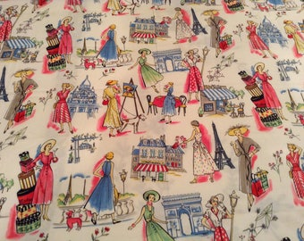 Springtime in Paris Fabric by Michael Miller One Yard Eiffel Tower France