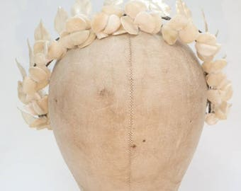 Vintage Antique 1920's Velvet Flowers & Pearlescent Leaves Wedding Headdress Tiara Wreath Crown