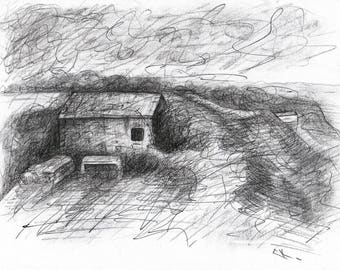 Landscape study - sketch on paper