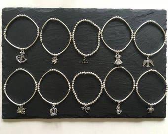 Handmade Silver ChloBo Style Boho Festival Elasticated Charm Rice & Noodle Ball Beads Bracelets