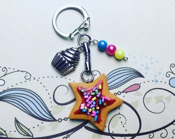 Key chain small biscuit - polymer clay