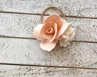 Felt headband - floral headband - felt flowers - bow - headband -baby headband - kids headband - flower girl headband - rose headband
