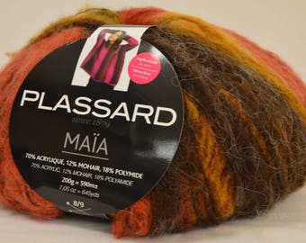 "Wool Plassard ""Maia"" ombre yellow orange brown"