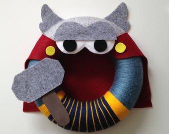 Thor Avenger yarn wreath, Wall Decor, Door Wreath, Felt Decoration, Bedroom Decor