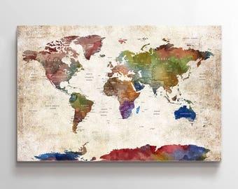 Large Wall Art World Map Push Pin Canvas Print, Push Pin, World Map, Push Pin Map Wall Art Poster Print, Pushpin World Map Print Art,