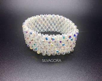 Bracelet with over 120 Swarovski elements stretchy and very classy