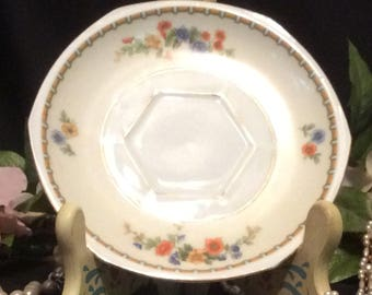 MZ Altrohlau CMR Czechoslovakia Hexagonal Shape Tea Saucer with Floral Motif and Gold Trim
