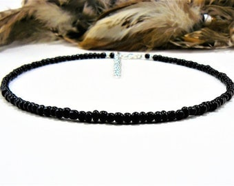 Black Beaded Choker, Seed Bead Choker, Beaded Choker, Choker Necklace, Boho Chic Choker, Black Choker Necklace, Black Necklace, Chokers