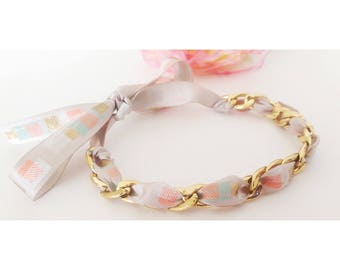 Ribbon gold tone bracelet