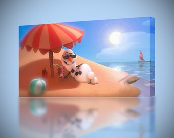 Frozen Olaf At The Beach CANVAS PRINT Wall Art Decor Giclee Disney 4-Sizes CA57