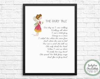 Fairy Poem, Fairy Printable, DIGITAL DOWNLOAD, Girls Bedroom Art, Nursery Art, Printable Nursery Decor, Gift for New Baby, Baby Shower Gift