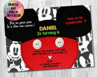 Mickey Mouse Printed Invitation, Mickey Mouse Digital Invite, Mickey Mouse Party, Mickey Mouse Birthday, Physical, AB-013