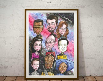 Star Trek, Next Generation Eco Friendly, A3 Cult Caricature Poster/Print