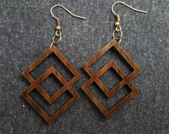 Double square geometric wood earrings, walnut and brass 0079