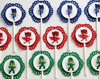 12 PJ Masks Cupcake Topper Party Picks - catboy - gecko - owlette -