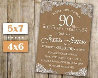 90th Birthday Invitation, Any Age Women Birthday Invite, Lace And Burlap  Invitation, Lace