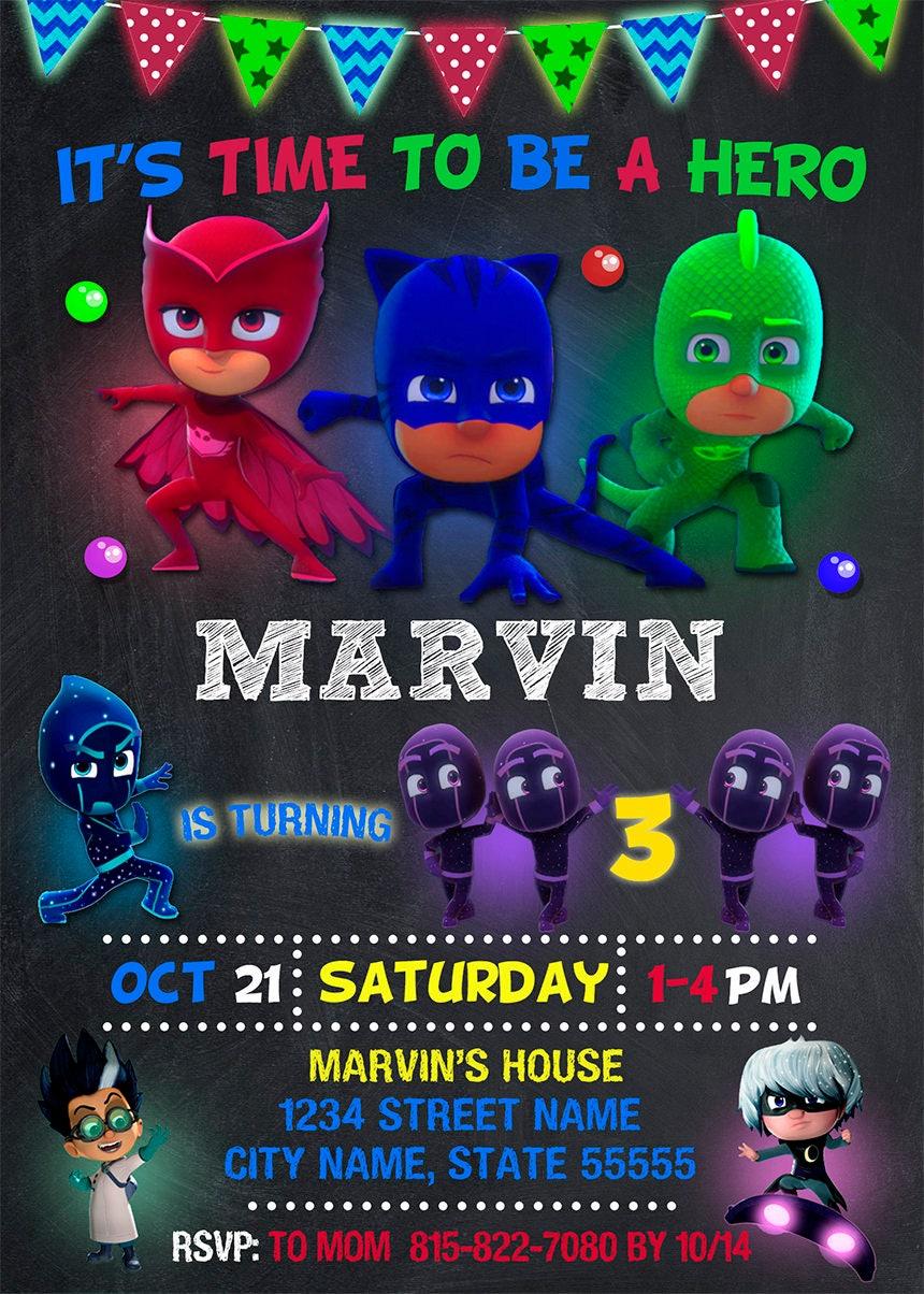 Pj Masks Invitation Pj Masks Birthday Party Pj Masks Printable PJ - Pj masks invitation template free