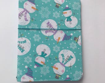 Fabric Travelers Notebook, Fabricdori TN, Fauxdori, Handmade Travelers Notebook, Fabric Notebook, Snowman, Christmas TN