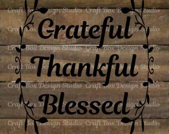 Grateful, Thankful, Blessed Stencil    Thanksgiving Stencil