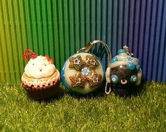 Medium cupcake or macaroon, keychain, necklace