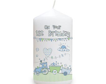 Whimsical Train 1st Birthday Candle Gifts Ideas For First His Her Childrens Kids Babies Babys Boys Girls Presents