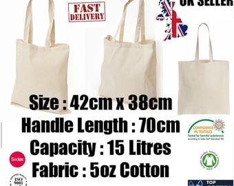 10  x  100% Cotton Shopping Plain Bags. ECO Friendly. Tote Shoulder Shopper Handbag. New Style Bag - Ideal for Printing and Fabric Painting.