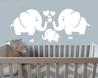 Elephant wall decal etsy - Stickers elephant chambre bebe ...