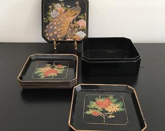 Vintage, Japanese Box Of Plates, Snack Plates, Japanese Coasters,Trinket Box, Black Plates, Lacquer Ware, Oriental Decor,Plates,Sushi plates
