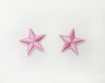2x pink stars military pinup Rockabilly fashion custom Iron On Embroidered Patch Applique Star rock tattoo