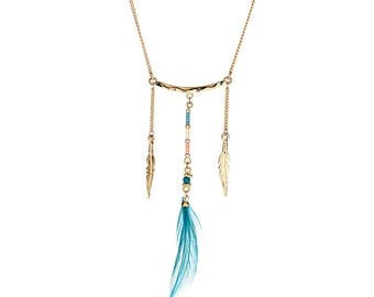 Necklace - Gold, Green - Metal,Imitation Feathers - Elegant - Anniversary