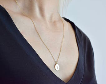 Circle Initial Necklace - Gold Initial Jewelry - Personalized Letter Necklace - Letter Necklace - Bridesmaid Gift - Mother's Day Gift