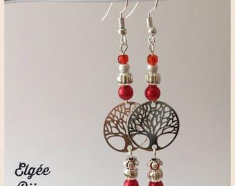 Earrings long red tree